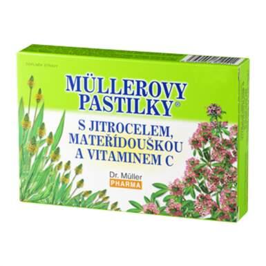 MÜLLEROVE PASTILKY so skorocelom, materinou dúškou a vitamínom C 24 kusov