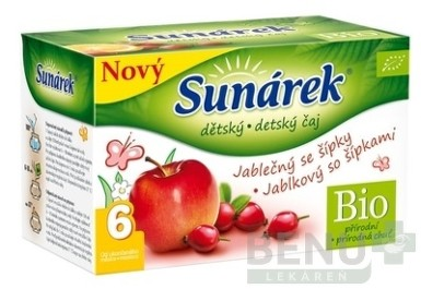 SUNÁREK DETSKÝ ČAJ BIO JABLKOVÝ SO ŠÍPKAMI 20x1,5g