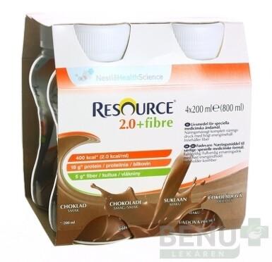 RESOURCE 2,0+ Fibre Čokoládová príchuť sol 4x200ml