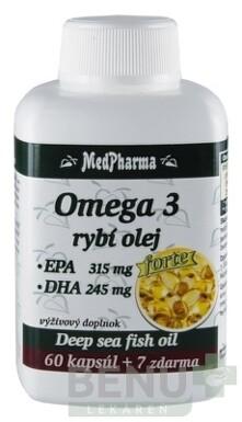 MedPharma OMEGA 3 rybí olej forte - EPA, DHA cps 60+7