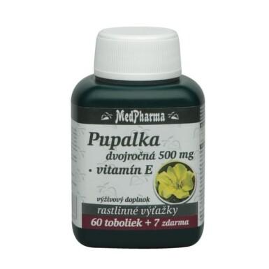 MEDPHARMA Pupalka dvojročná 500 mg s vitamínom E 60 tabliet +7 tabliet ZADARMO