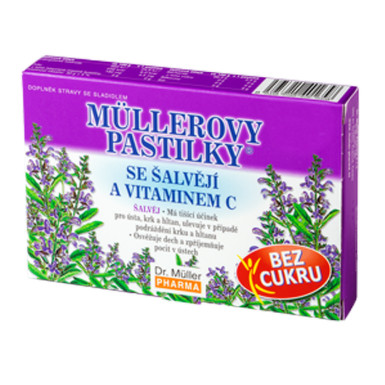 MÜLLEROVE PASTILKY so šalviou a vitamínom C 12 kusov