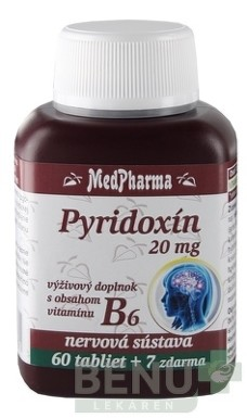 MedPharma PYRIDOXÍN 20 mg (vitamín B6) tbl 60+7