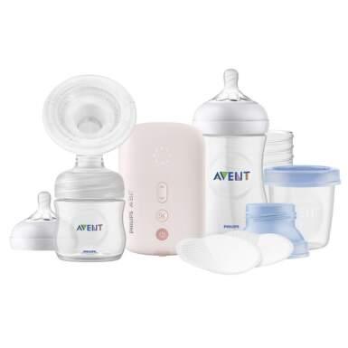 AVENT Elektrická odsávačka mlieka 1 kus + fľaša 260 ml + 3 ks Via poháriky