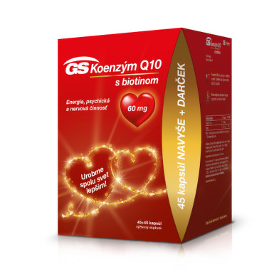 GS Koenzým Q10 60 mg s biotínom darček 2020 45 + 45 tabliet ZADARMO