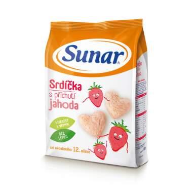 SUNAR Detský snack srdiečka s príchuťou jahoda 50 g