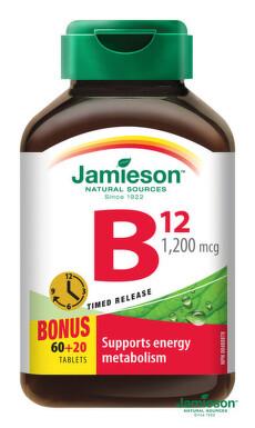 JAMIESON Vitamín B12 s postupným uvoľňovaním 80 tbl. tbl 60+20x1200mcg