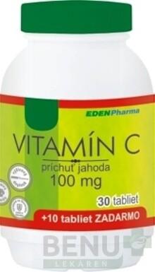 EDENPharma VITAMÍN C 100 mg príchuť jahoda tbl 30+10 zdarma