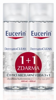 Eucerin DermatoCLEAN čistiaca micelárna voda 3v1, 1+1 zadarmo 2x400 ml