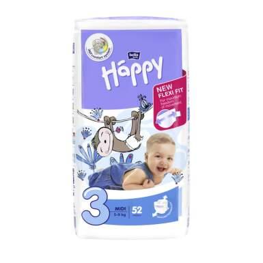 HAPPY Detské plienky 3 midi 52 kusov