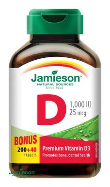 JAMIESON VITAMÍN D3 1000 IU 200 tbl + 40 bonus