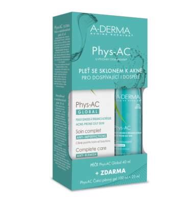 A-DERMA Phys-ac global na pleť so sklonom k akné 40 ml + čistiaci penivý gél 100 ml + 25 ml ZADARMO