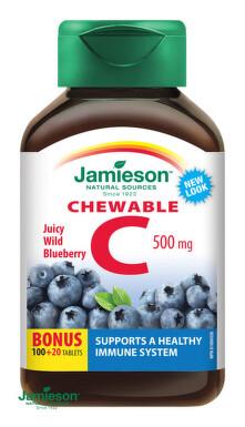 JAMIESON Vitamín C 500 mg tablety na cmúľanie s príchuťou čučoriedky 120 tbl. tbl 120x500mg