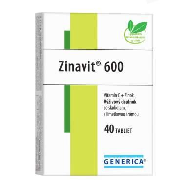 GENERICA Zinavit 600 s príchuťou limetka 40 tabliet