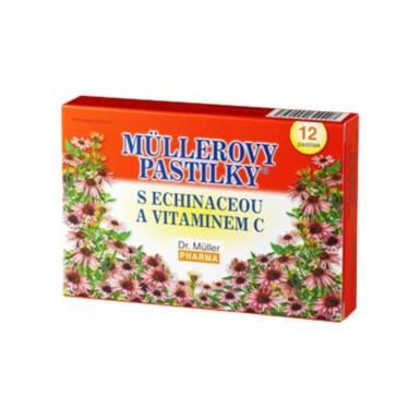 MÜLLEROVE PASTILKY s echinaceou a vitamínom C 12 kusov