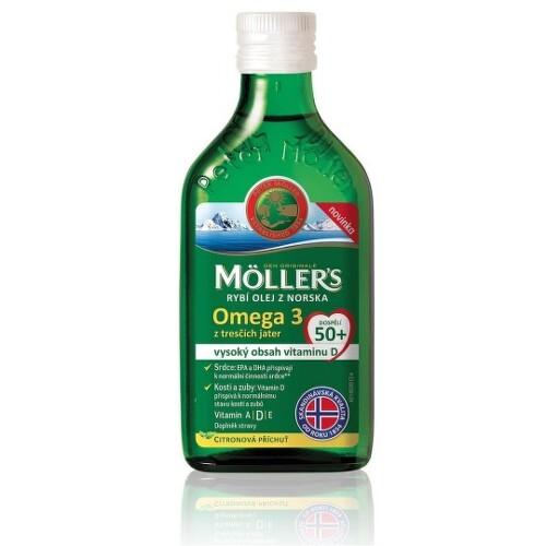 MOLLERS Omega 3 rybí olej dospelí 50+ citrónová príchuť 250 ml