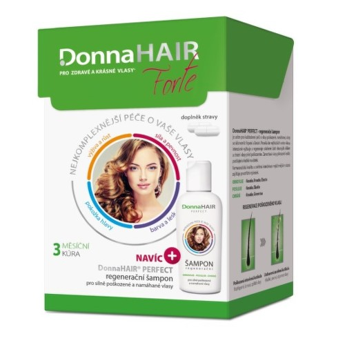 DONNA HAIR Forte 3 mesačná kúra 90 kapsúl  DonnaHAIR PERFECT šampón 100 ml