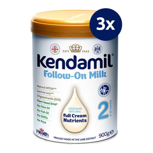 KENDAMIL Pokračovacie dojčenské mlieko 2 DHA+ 900 g - balenie 3 ks