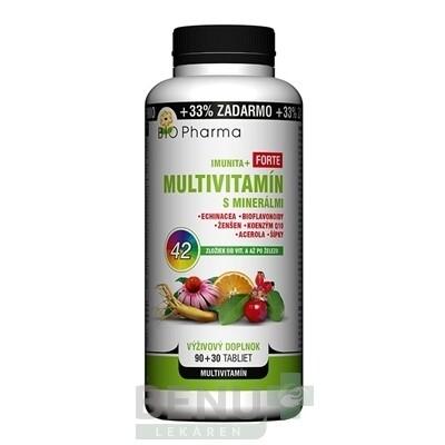 BIO Pharma multivitamín s minerálmi imunita + forte 90 + 30 tabliet ZADARMO