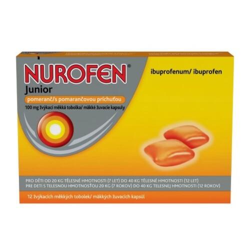 NUROFEN Junior s pomarančovou príchuťou 100 mg 12 kapsúl
