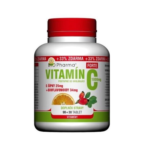 BIO Pharma vitamín C so šípkami 1000 mg forte 90 + 30 tabliet ZADARMO