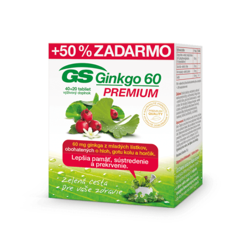 GS Ginkgo premium 40 + 20 tabliet ZADARMO