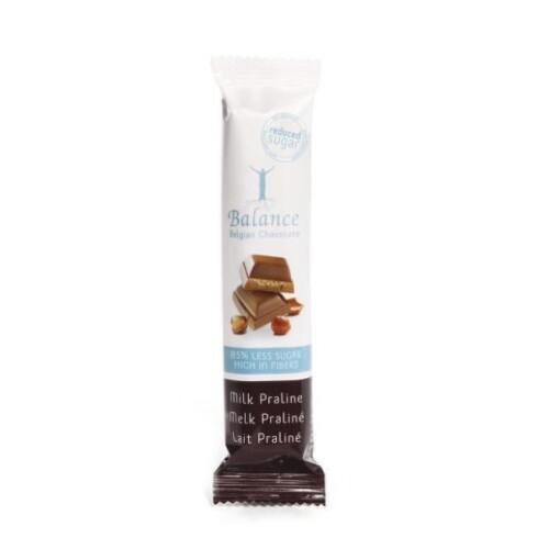 BALANCE Belgicka mliečna čokoláda bez cukru s náplňou praline 35 g