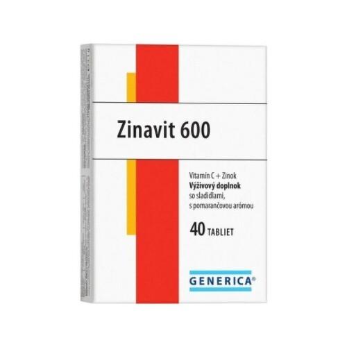 GENERICA Zinavit 600 s príchuťou pomaranč 40 tabliet