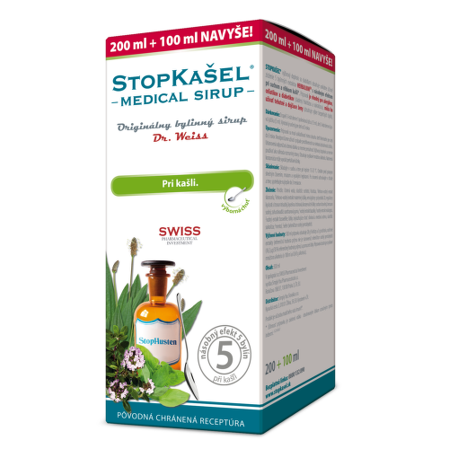 DR. WEISS Stopkašeľ medical sirup 200 ml + 100 ml ZADARMO