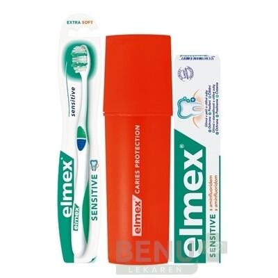 ELMEX Sensitive sada 75 ml zubná pasta + zubná kefka + puzdro