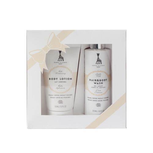 Sophie la girafe Baby darčeková kazeta telové mlieko 150 ml a šampón na vlasy a telo 200 ml 150ml+200ml