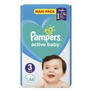 PAMPERS Active baby maxi pack 3 Midi 66 kusov
