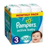 PAMPERS Active baby 3 midi 6-10 kg 208 kusov