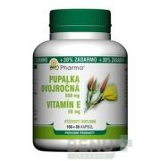 BIO Pharma pupalka dvojročná 500 mg a vitamín E 50 mg 100 + 30 kapsúl ZADARMO