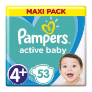 PAMPERS Active baby maxi pack 4+ MaxiPlus 53 kusov